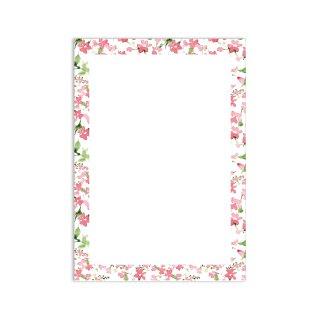 Briefpapier Set Blumenrahmen I DIN A4 I 50 Blatt