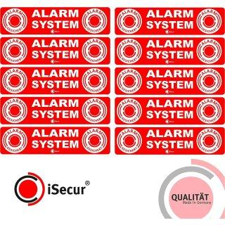 10er Set Alarm-Aufkleber I 12 x 3 cm