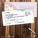 15 Einladungskarten mit Einhorn-Motiv I DIN lang