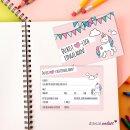 15 Einhorn Einladungskarten rosa I DIN A6