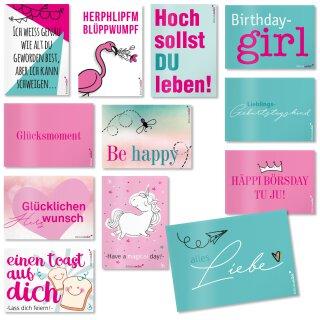 24 Wunsch-Postkarten mit Sprüchen I DIN A6