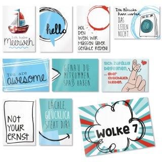 2 x 10 Postkarten mit Sprüchen I DIN A6
