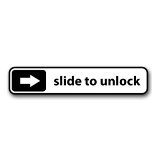 1 Sticker slide to unlock I kfz_135 I 10 x 2 cm