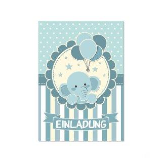 15 Elefanten-Einladungskarten I DIN A6