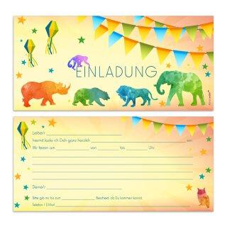 15 Zoo Einladungskarten I DIN lang