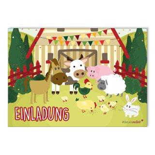 15 Bauernhof Einladungskarten I DIN A6