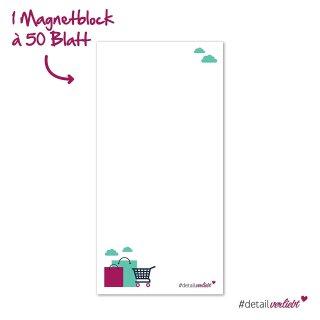 Notizblock Einkaufsliste mit magnetischer Rückseite I 10 x 20 cm