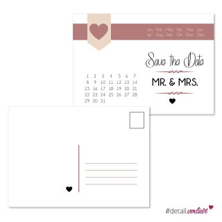 15 Postkarten Save the Date Herz I DIN A6