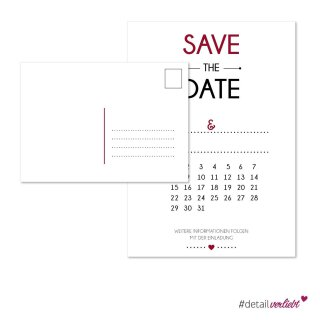 15 Postkarten Save the Date Kalendarium I DIN A6