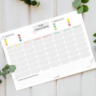 Monatsplaner | dv_527 bunt | A4 Block | Wochenplaner | Tagesplan | Organizer | Geschenk | Planung | Überblick (Whiteboard magnetisch blau)