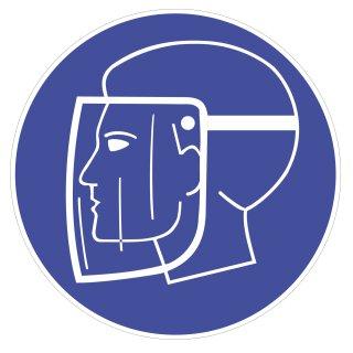 Hinweisaufkleber Gesichtsschutz aufsetzten I Ø 9 cm I Sicherheitsmaske I Sicherheits- und Schutzkennzeichnung I Gebot I selbstklebend I wetterfest I hin_143