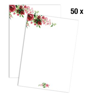 Briefpapier Set Rose I DIN A4 I 50 Blatt