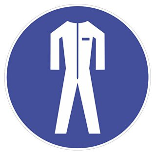 Gebotsaufkleber -Schutzkleidung benutzen- I DIN 4844-2 I Ø 9 cm