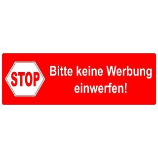 Aufkleber Stop Bitte Keine Werbung Einwerfen I 9 X 3 Cm I Rot