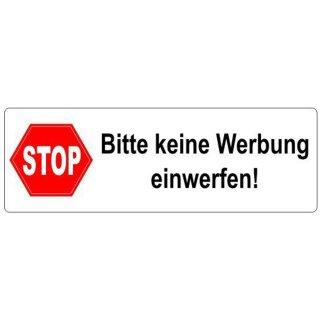 Aufkleber Stop Bitte Keine Werbung Einwerfen I 9 X 3 Cm I Weiß