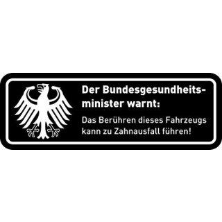 Fun-Aufkleber Warnung Zahnausfall schwarz I kfz_364 I 10 x 3,5 cm