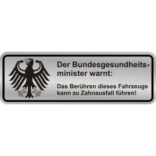 Fun-Aufkleber Warnung Zahnausfall silber I kfz_366 I 10 x 3,5 cm
