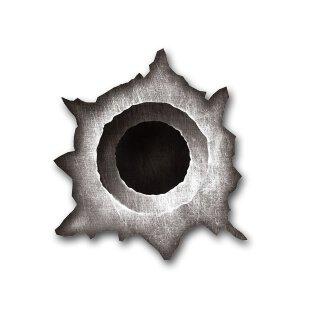 Sticker Einschuss-Loch I 8 x 9 cm