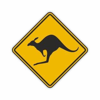 1 Sticker Vorsicht Känguru I 10 x 10 cm