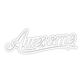 1 Sticker Awesome weiß I 10 x 3,5 cm