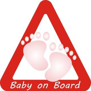 1 Auto-Aufkleber Baby on Board Mädchen I kfz_026 I 10 x 10 cm