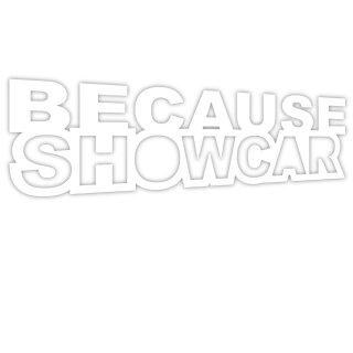 """Aufkleber """"Because Showcar, weiß"""", 10x3,5cm, Art. Nr. kfz_425 weiß, außenklebend für Auto, LKW, Motorrad, Moped, Mofa, Roller, Fahrzeuge, UV- und witterungsbeständig, für Waschanlagen geeignet"""