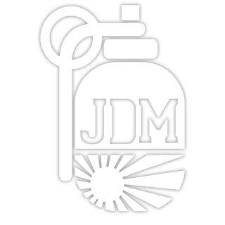 """Aufkleber """"JDM Granate, Rising Sun, weiß"""", 7x10cm, Art. Nr. kfz_421 weiß, außenklebend für Auto, LKW, Motorrad, Moped, Mofa, Roller, Fahrzeuge, UV- und witterungsbeständig, für Waschanlagen geeignet"""