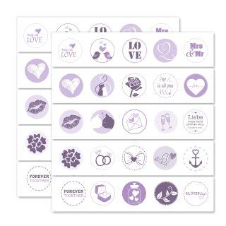 2 x 25 Hochzeits-Aufkleber I lila