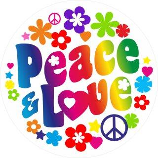 Sticker Peace & Love I Ø 60 cm