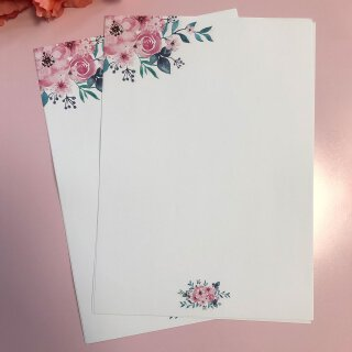 Briefpapier Set Aquarell-Blumen, Rose I DIN A4 I 50 Blatt