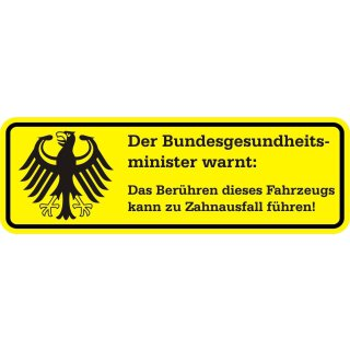 Fun-Aufkleber Warnung Zahnausfall gelb I kfz_361 I 15 x 5 cm