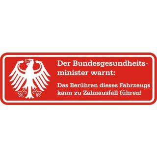 Fun-Aufkleber Warnung Zahnausfall rot I kfz_363 I 15 x 5 cm