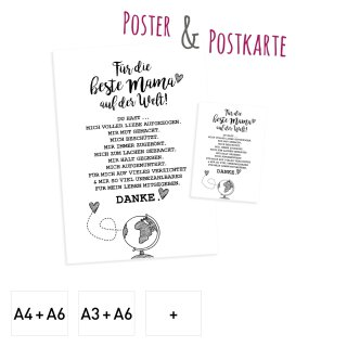 Für die beste Mama der Welt I Poster und Postkarte im Set