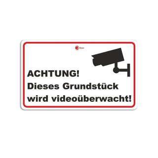 Aufkleber Achtung! Dieses Grundstück wird videoüberwacht! I Größe 15 x 10 cm