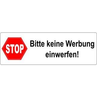 5 Aufkleber Stop Bitte keine Werbung einwerfen! I 9,5 x 3 cm I weiß