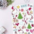 Einhorn-Aufkleber Set I Weihnachten