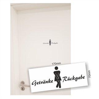 """WC Türaufkleber """"Getränkerückgabe Frau"""", WC Schild, Bad, Toilette, Klo, Badezimmer, WC Sticker"""
