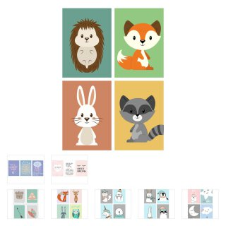 4er-Set Tier Poster I DIN A4