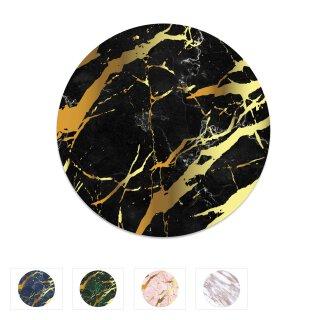Mauspad Marmor-Look I Ø 22 cm rund I Mousepad in Standard-Größe, rutschfest I schlicht modern I Stein-Optik Granit