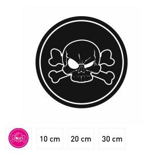 Aufkleber Totenkopf mit Schleife girly I kfz_ I Ø ... cm I Skull Sticker für Motorrad-Helm Roller Fahrrad Laptop Handy Auto-Aufkleber pink wetterfest