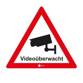 """4er Set innenklebende Hinweis-Aufkleber """"Videoüberwacht"""" I Höhe 5 cm"""
