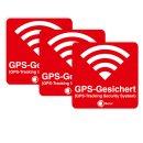 3er Aufkleber-Set GPS-Gesichert I 6 x 6 cm