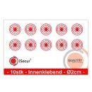 10er Aufkleber-Set alarm-gesichert I innenklebend I Ø 2 cm