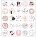 25 Hochzeits-Aufkleber I rosa