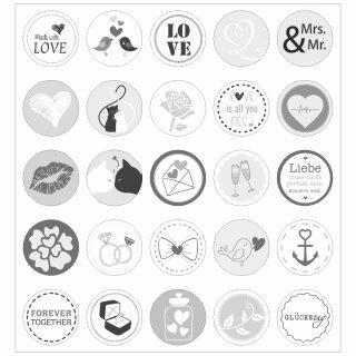 25 Hochzeits-Aufkleber I grau