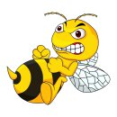1 Sticker Böse Biene Angry Bee I 15 x 13 cm - links