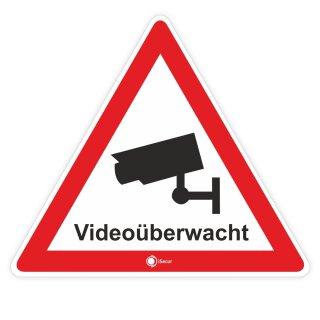 3er Set Aufkleber Videoüberwacht I 8 cm