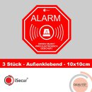 3er Set Alarm-Aufkleber I 10 x 10 cm