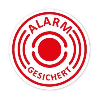 """5 Stück Aufkleber """"Alarm"""", iSecur®, alarmgesichert, 40mm Durchmesser, Art. hin_436_40mm_außen, Hinweis auf Alarmanlage, für Fensterscheiben, Haus, Auto, LKW, Baumaschinen"""