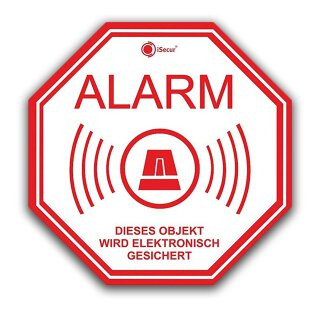 6er Set Alarm-Aufkleber I 5x5 cm